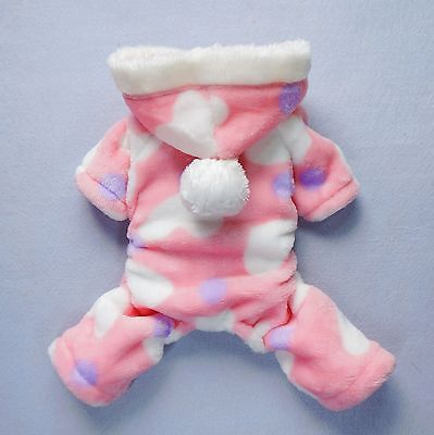 "Small 7""Back Pink Dog Pajamas Soft Dog Clothes Pet Hoodies Puppy Coat Apparel"