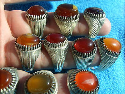 VINTAGE NATURAL OLD HAND MADE CARNELIAN 10 RINGS LOT A KIND OF RINGS US 9,10,..