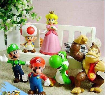 6 pcs New Lovely Lots Nintendo Super Mario Bros Action Figure Toys Gift sf