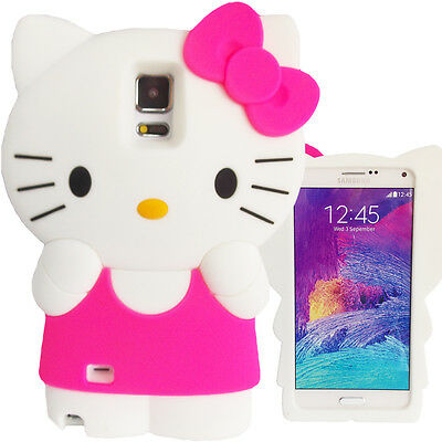 3D Hot Pink White Hello Kitty Case for Samsung Galaxy Note 4 Bow Soft Cover