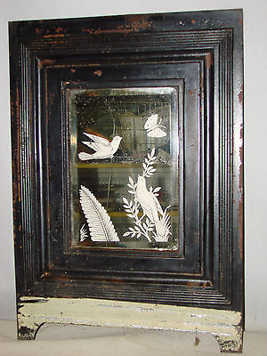Antique Cast Iron Ornate Fireplace Cover Front W/ Mirror Birds Butterfly