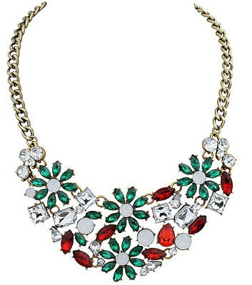 Hot Fashion Party Colorful Resin Crystal Drop Geometry Flower Choker Necklace