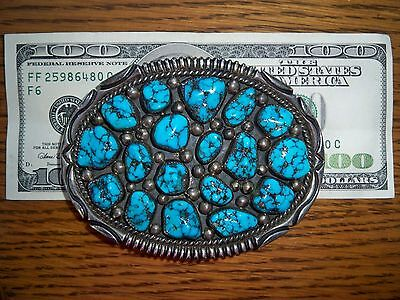 Orville Tsinnie, Navajo Sterling and Turquoise Belt Buckle-stamped by the artist