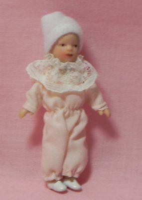 Dollhouse Miniature Doll Baby in Pink & White Porcelain Reutter Porcelain 1:12