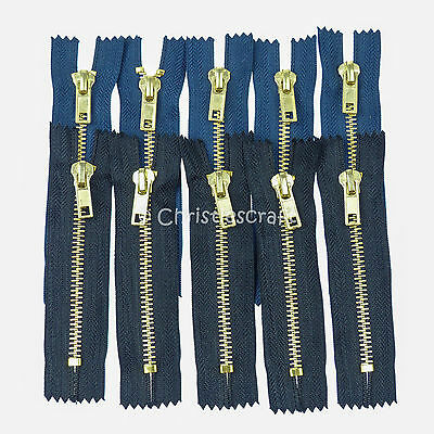 5 x No5 Brass Coloured Metal Teeth Closed End Auto Lock Jeans Zips
