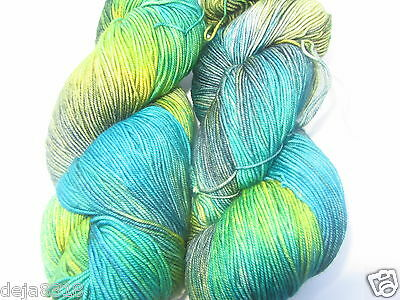Ella Rae Lace Merino Yarn 2 skein Hand Dyed Color 145 Lime, Green, Blue