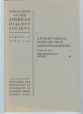 1966: Lexington Kentucky Burley Tobacco WORD LIST and VOCABULARY, booklet