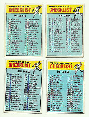 1966 Topps Baseball Checklists Low Grade Filler Lot (4) Different