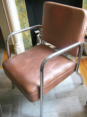 Vintage Mid Century Modern Vinyl & Chrome Deco Arm Lounge Chair by Royalmetal