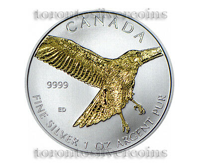 Canada 2015 Birds of Prey 1 oz Silver Coin Red Tailed Hawk - Gilded !! 3rd Coin