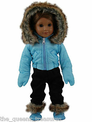 """18"""" DOLL CLOTHES Fits AMERICAN GIRL Complete Ski Wear Pants,Jacket,Boots,Gloves"""