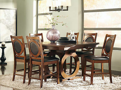 WINDSOR-7pcs TRADITIONAL SQUARE COUNTER HEIGHT DINING ROOM TABLE CHAIRS PUB SET