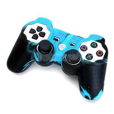 Black-Blue Camo Attractive Silicone Skin Case Cover for Sony PS2 PS3 Controller