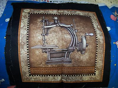 Antique Sewing Machine Cotton Fabric Square 11x 11 inches, ..