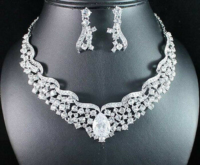 FANTASTIC CLEAR AUSTRIAN RHINESTONE CRYSTAL NECKLACE EARRINGS SET BRIDAL N1721B