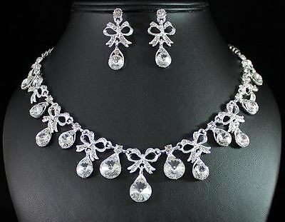BOW CLEAR AUSTRIAN RHINESTONE CRYSTAL NECKLACE EARRINGS SET BRIDAL WEDDING N1386