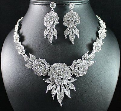 SEXY PEONY CLEAR AUSTRIAN RHINESTONE CRYSTAL NECKLACE EARRINGS SET BRIDAL N1812