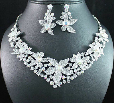 FLOWERS AB WHITE AUSTRIAN RHINESTONE CRYSTAL NECKLACE EARRINGS SET BRIDAL N1690