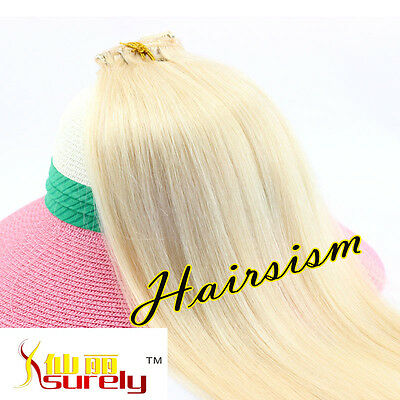"""Womens15""""Clip In Real Human Hair Extensions 70g Platinum Blonde 7pcs Complete"""