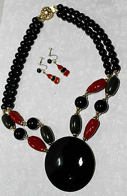 """Matching Vintage Statement 19"""" Necklace Earrings, Big Black Disc Red Green Beads"""