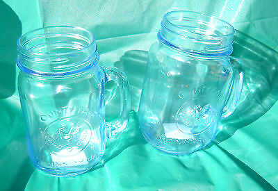 Libbey Country Fair Drinking Jar with Handle, 16.5-Ounce, Clear Blue Set of 2