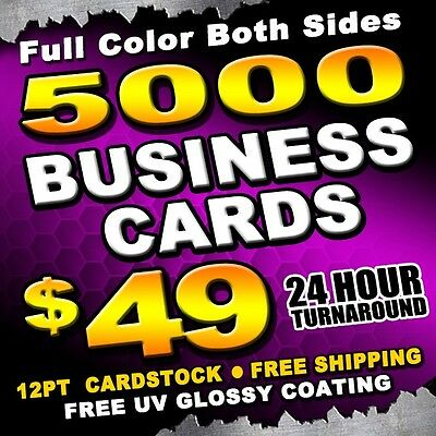 5000 Business Cards Full Color UV Glossy Coating + 24 HOUR TURNAROUND