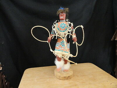 14 Inch Native American Made Hand Carved Hoop Dancer