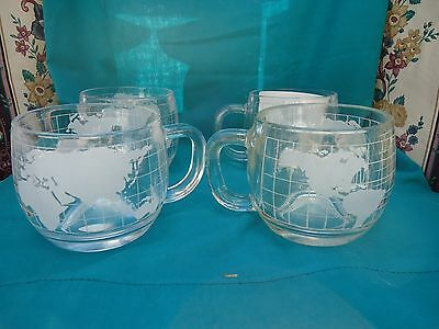 Vintage Nescafe Etched World Globe Glass Coffee Cups Set of 4 1979 Japan NEW