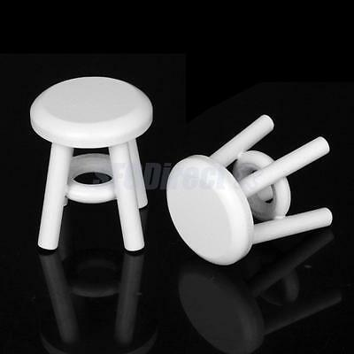 2pcs Dollhouse Miniature White Wooden Round Stools Chairs Room Kitchen Furniture