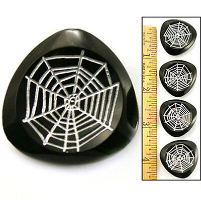 27mm 1950's Vintage MOD Czech Glass SPIDER WEB Black White Triangle Buttons 4pc
