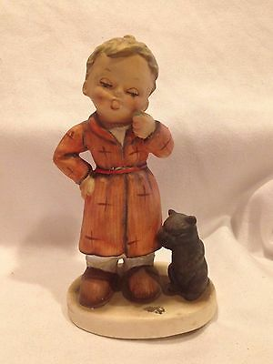VERY RARE NAPCO FIGURINE  BEDTIME SH1B BOY BRUSHING TEETH & CAT (LIKE HUMMEL)