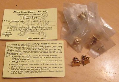 INTERNATIONAL ASSOC. OF TURTLES, AKRON BRASS CH. # 7-11, 8 CARDS & 9 LAPEL PINS