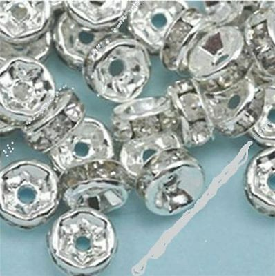 3x8m Wholesale 100pc Silver Plated Rondelle Clear Crystal Rhinestone Spacer Bead