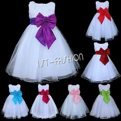 NEW FLOWER GIRL DRESS PRINCESS WEDDING PAGEANT PARTY CHRISTENING BOW TULLE DRESS