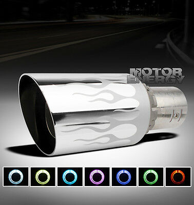 "UNIVERSAL 4"" 7 COLOR LED EXHAUST MUFFLER TIP JEEP MAZDA MERCEDES-BENZ MITSUBISHI"