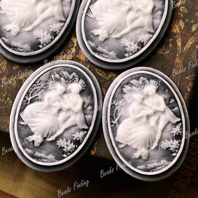 Resin Cabochons 4pcs 40x30mm Flatback Princess Prince Character Cameo Gray RB693