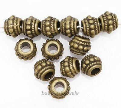 30pcs Retro Style Bronze Zinc Alloy Flower Big Hole Loose Spacer Beads 9x7mm