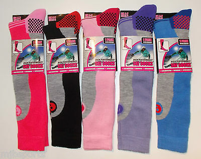 3 Pairs Ladies Thermal Padded Ski Socks High Performance Long Lenght Size 4 -7