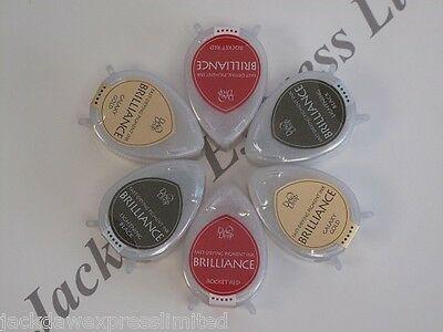 6 x Dew Drop Brilliance Pigment Ink Pad Galaxy Gold Rocket Red Black AM156