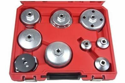 "Universal 9pc Oil Filter Wrench Remover Set Cup Type 3/8"" Drive Garage Tool Kit"