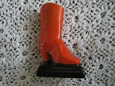 Miniature Shoe Boot Orange Made in Japan  High Heel Collectible Vintage