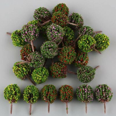 30 Mix 3 Color Flower Model Ball Trees Train Garden Park Scenery 1:100 HO Layout