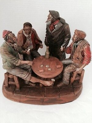 VINTAGE CAPODIMONTE ARMANI SCULPTURE OLD MEN CARD CHEATERS CIGAR PIPE SIGNED