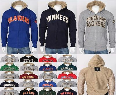 NHL NFL Winter Casual Hoodie Sherpa Lined Jacket Fur Sweatshirt Plus Sizes UK