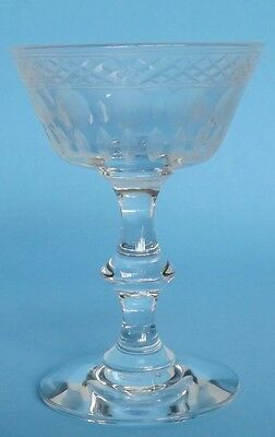 Vintage  Crystal Hand Gray Cut, Hand Blown Champagne Stem Lattice Dots Ovals