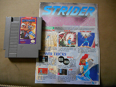 Strider  (Nintendo NES 1989) Game Cartridge TESTED + Strategy Guide Insert