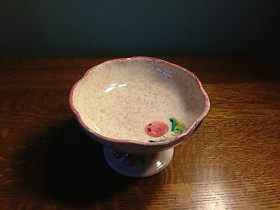 "Beautiful Italian pink ceramic pedestal bowl, ""ITALI  31/3"" on it / hand-painted"