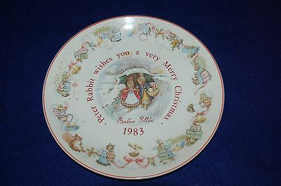 1983 BEATRIX POTTER PETER RABBIT WISHES YOU A MERRY CHRISTMAS WEDGEWOOD PLATE