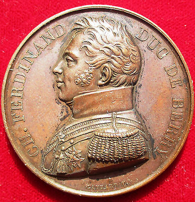 FRANCE, NAPOLEONIC MEDAL, DUC DE BERRY'S WORDS AT BETHUNE 1815, BRONZE  41mm