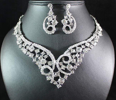 EXQUISITE CLEAR AUSTRIAN RHINESTONE NECKLACE EARRINGS SET BRIDAL PARTY N1656C